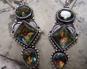 HOLIDAY SALE..Mystic Topaz Earrings From Brazil...Set In 925 Sterling Silver