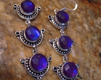 PRE-HOLIDAY SALE...A Deep Purple Rainbow Mystic Topaz Earrings From France...Set In .925 Sterling Silver