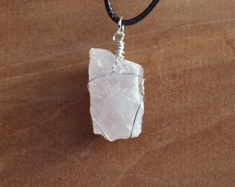 Raw Rose Quartz Necklace,  Rose Quartz, Raw Stone Necklace, Long Chain and Stone, Back to School, Geology, Love Stone, Fertility Stone