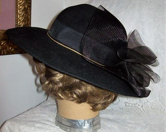 Vintage Ladies Black Felted Wool Wide Brim Hat w/ Bow Trim by Lancaster Only 14 USD