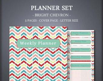 Printable Planner Set - Weekly Planner Set - Daily Planner Set - Bright Chevron - Printable Planner Set