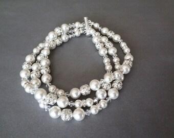 Pearl bracelet, Swarovski pearl bracelet, 3 Strand pearl bracelet, Pearl cuff statement Bracelet, Pearl bracelet for a bride,~ GINA