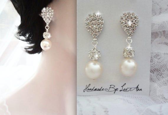 Pearl earrings, Wedding earrings, Brides earrings, Bridesmaids earrings, Swarovski pearl earrings, Chunky pearl drop earrings LOLITA