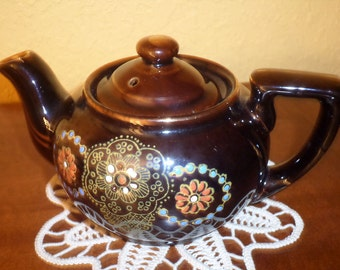 Red Clay/Moriage One Cup Tea Pot/JAPAN/NO CHIPS