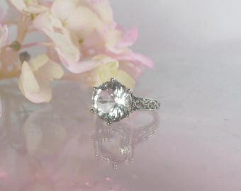 Non Traditional Engagement Ring, Non Traditional Ring, Non Diamond Ring, Herkimer Diamond, Natural Gemstone, Unique Handmade Ring