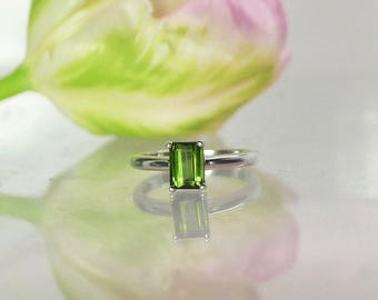 Tourmaline Ring, Green Tourmaline Ring, Natural Tourmaline Ring, Tourmaline Solitaire Ring, Solitaire Ring, Emerald Cut Ring, Tourmaline