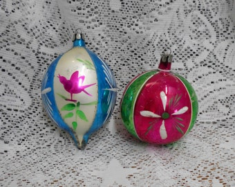 2 Vintage Poland Mercury Glass Ornaments Pink Green Blue White