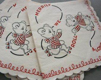 Paper Napkins Childrens Birthday Party Mid Century New Old Inventory
