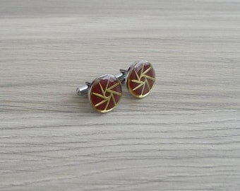 Vintage 60's 'Origami' Maroon & Gold Geometric Circle Silver Cuff Links