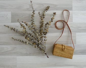 20% OFF (Code In Shop) - Vintage Woven Rattan Basket Box Bag with Leather Sling Strap