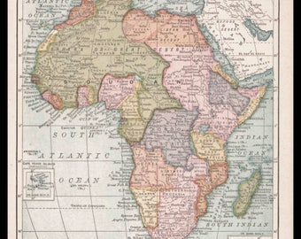 Vintage africa map Etsy