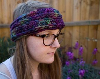 Purple Galaxy Knit-Style Crochet Headband / Dread-band / Ear-warmers // 100% Merino Festival Ready