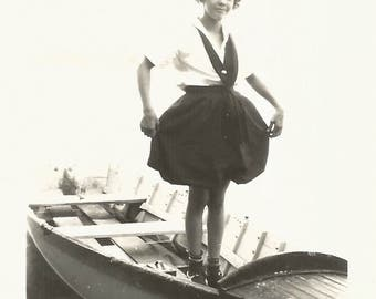 "Vintage Snapshot ""Betty's Bloomers"" Young Girl Shows Off New Outfit Wooden Rowboat Found Vernacular Photo"