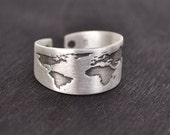Travel Oxidized Ring / Travel Jewelry / World Jewelry / Gift for Women / Send off Gift / Wanderlust / Silver Globe Ring / World Ring Map