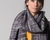 Chunky woven scarf, Bulky Winter boho wrap wool blanket, Merino wool thick wrap, Gray men's Blanket Scarf gift