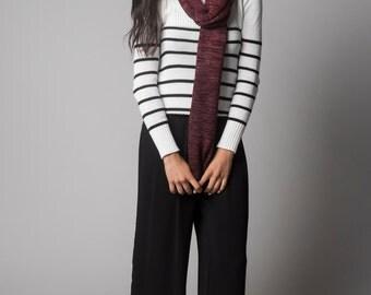 Scarf knit Shawl, wool scarf lightweight, Shrug Merino Wool Felted, Bordeaux Dip dye wool wrap