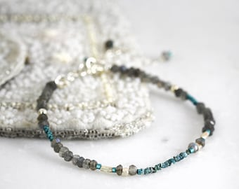 Blue Diamond Bracelet - Skinny Bracelet -  Diamond and Labradorite Bracelet - Blue Grey Bracelet - Delicate Bracelet - Rough Diamond Jewelry