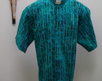 CAMP Clerical shirt blue-green bamboo. Size of choice. Tab or full band collar ready. Untucked style