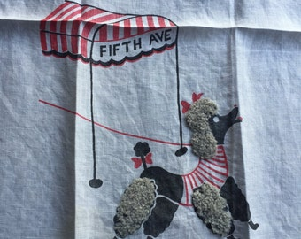Vintage 5th Ave. Poodle Tea Towel