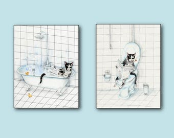 Cat Bathroom Print Set of 2 - Cat Reading Newspaper on the Toilet - Art Print of watercolor painting - DO NOT DISTURB