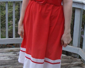 RED and WHITE POLKADOT early 1980's dress vintage 80's M