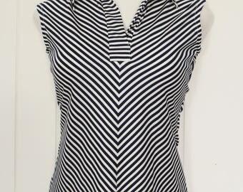 Vintage Striped Sleeveless Blouse - Sleeveless Polo - Sleeveless Top - Navy Blue and White - July 4th -  Alice Stuart - Medium
