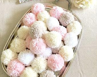 Pom Poms or Garland - Pink, Linen, White, Ivory Yarn - Birthday Garland - Baby Nursery - Bridal Shower Garland  - Wedding - Photo Prop