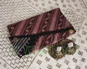 Large Assuit Zil Bag- Dark Burgundy Brown and Black Stripe Assiut Bellydance Finger Cymbals Pouch