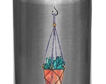 """CLR:WB - Hanging Succulent Plant - Design 2 - Stained Glass Style - Opaque Vinyl Water Bottle Decal © YYDCo. (SM 1""""w x 3.75""""h)"""