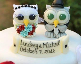 Owl wedding cake topper, love birds bride and groom cake topper, succulent wedding, custom hand made cake topper, birdcage wedding veil