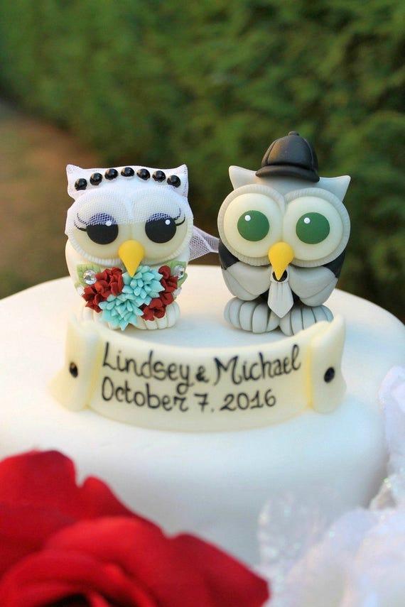 Owl wedding cake topper love birds bride and groom cake