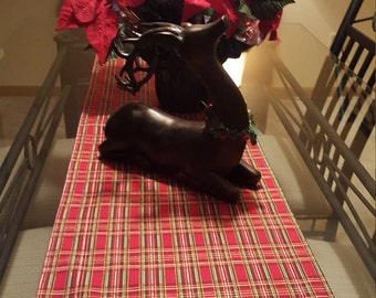 Christmas Table Runner, Red Plaid Christmas Runner, Festive Christmas Runner