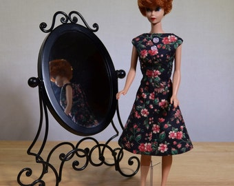 Barbie Black Floral Print Dress 50s 60s Style
