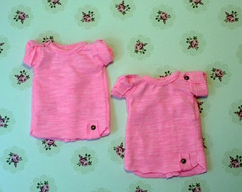 Short sleeve fluorescent pink top for  YOSD doll bambicrony littlefee etc