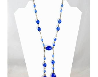 Vintage Edwardian Negligee Necklace - Sapphire Blue Glass - Czech Glass Bead Necklace with Art Deco Style - Lavalier Necklace - Drop