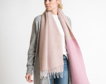merino color block scarf // rose-mauve