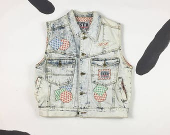 90s Get Used By Elie Denim Acid Wash Patch and Pocket Vest / Size Large /