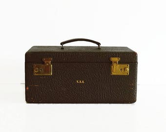vintage leather train makeup case with key 1940s suitcase travel luggage