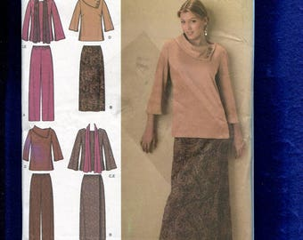 Simplicity 4886 Boho Chic Bell Sleeve Tops Wrap Skirt & Pants Size 10 to 18 UNCUT