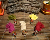 Beaded Cotton Tassel, Set Of 5 , Bead Work Tassel. Tribal Tassel, Tassel Necklace, Beaded Pendant, Jewelry Tassel