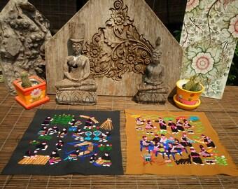 Embroidered Hmong Folk Art Textile,Set Of 2,  Hand Made Embroidered Textile, Hmong Textile , Tribal Textile