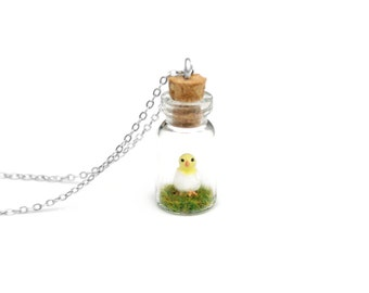 Easter Chick Bottle Necklace, Peep, Spring Baby Animal - miniature chick in a tiny glass bottle, 2.5cm high, 16 inch chain