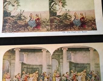 Set of Nine Vintage Stereoscope Cards Birth to Death of Jesus of Nazareth