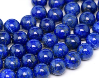 "8MM Lapis Lazuli Beads Genuine Afghanistan Lapis Grade AAA Natural Gemstone Round Loose Beads 16"" BULK LOT 1,3,5,10 and 50 (100188-272)"