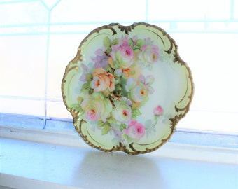 Antique Royal Munich Zeh Scherzer Bavaria Hand Painted Porcelain Plate with Roses and Gold Border