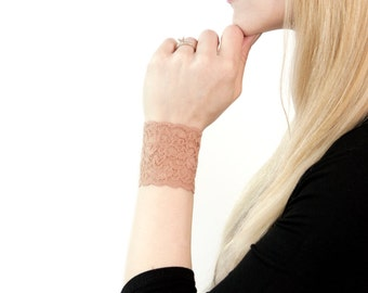 Lace Wrist Cuff Bracelet, Nude Cuff, Tan Bracelet, Beige Skin Tone, Arm Band, Wristband Wrist Tattoo Cover Up, Boho Arm Cuffs, Scar Cover