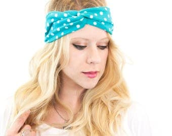 Twist Headband, Polka Dot Headband Teal Headband Summer Headband Best Friend Gift for Her Womens Turban Adult Headband Twisted Headband Blue