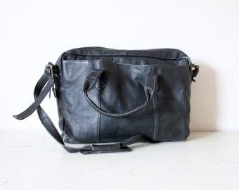 Rustic Black Leather Briefcase Shoulder Bag
