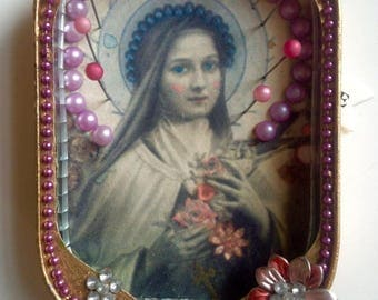 Tin art, Altered image, miniatures, recycled art, icon, collage, 3d art, Religious art, miniature art, mexican art, Madonna, Tin can art,