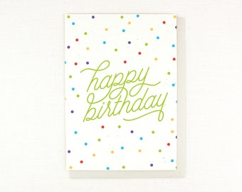 Birthday Card, confetti, dots, polka dots, happy birthday calligraphy, typography, fun colorful birthday card, happy birthday